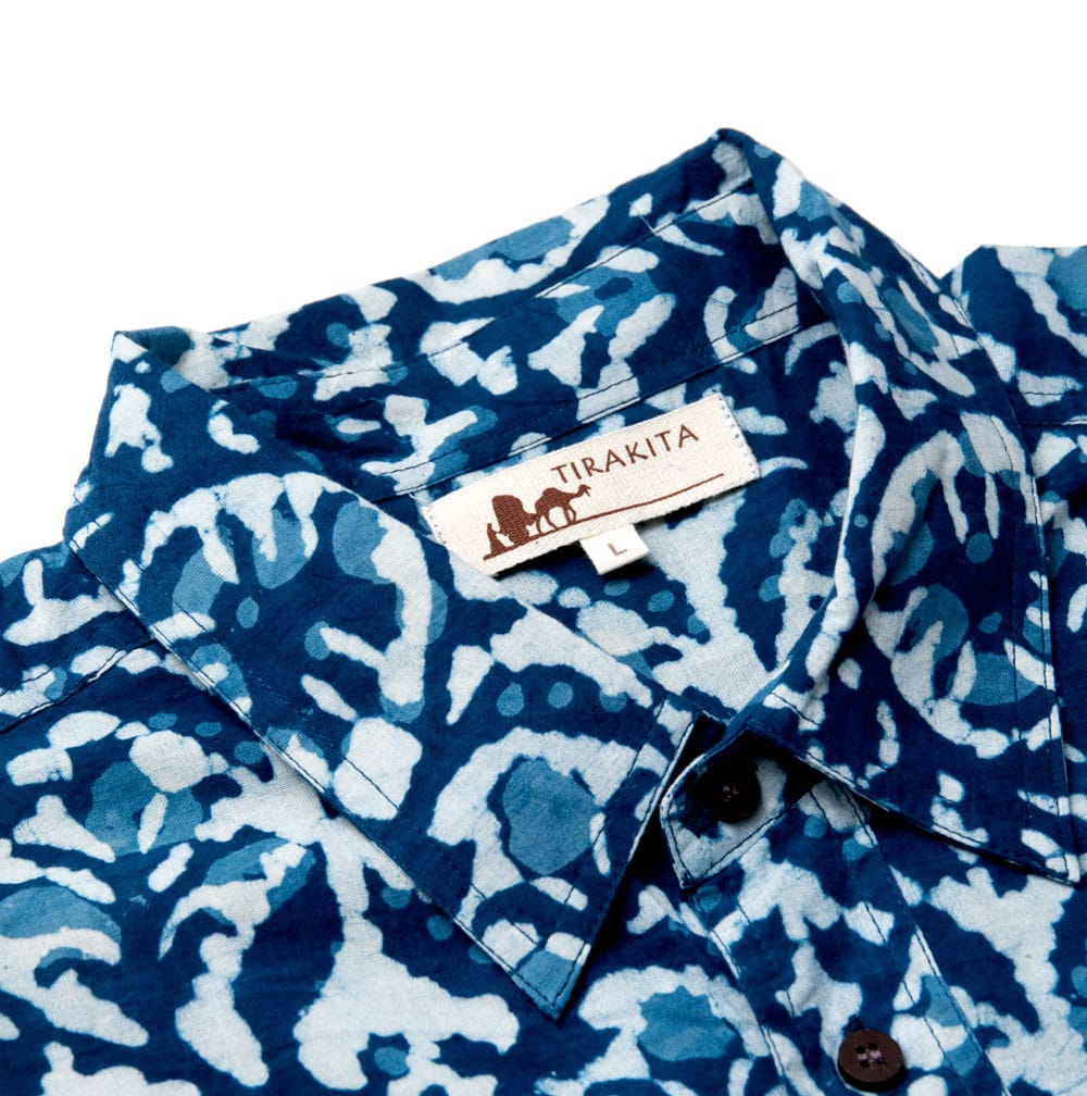 インディゴ染 メンズ 半袖 ハーフスリーブ シャツ  11 - 襟元の拡大です