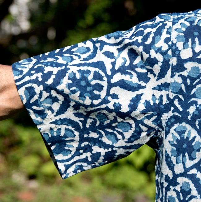 インディゴ染 メンズ 半袖 ハーフスリーブ シャツ  7 - 袖口を拡大しました