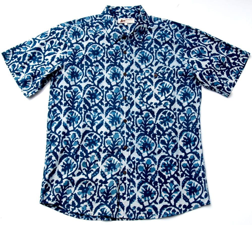 インディゴ染 メンズ 半袖 ハーフスリーブ シャツ  8 - 平置きしてみました