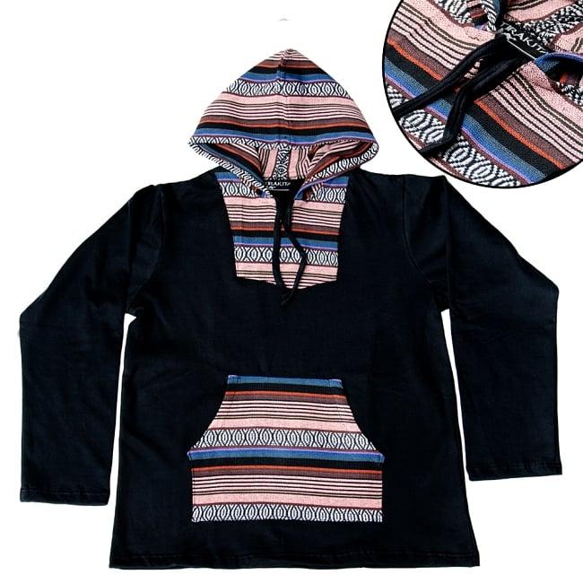 ネパール刺繍 さらふわ裏起毛プルオーバーパーカーの写真17 - 【選択:B】灰赤×白黒×茶×紫系