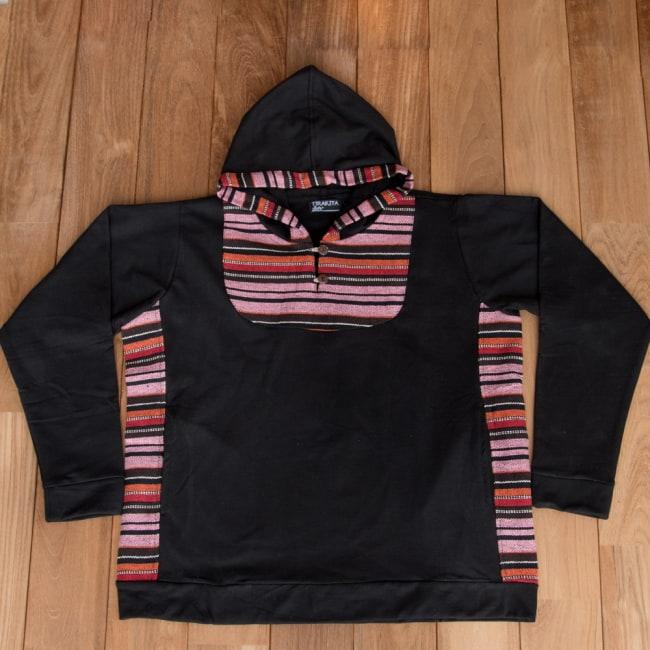エスニック布とウッドボタンのパーカー 12 - 選択2:ブラック