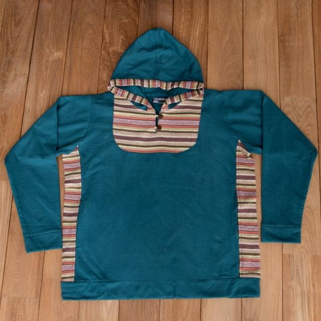 エスニック布とウッドボタンのパーカー 15 - 選択5:ブルーグリーン