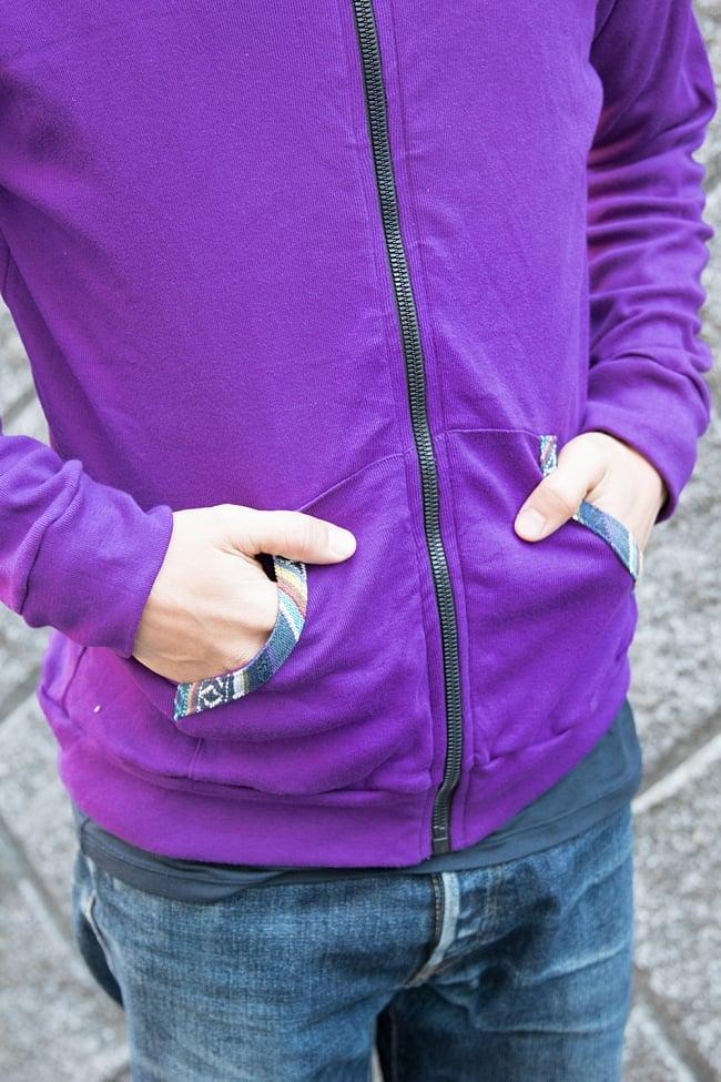 ゲリライン付きジップパーカー 8 - ポケット周りにもネパール布が用いられています。