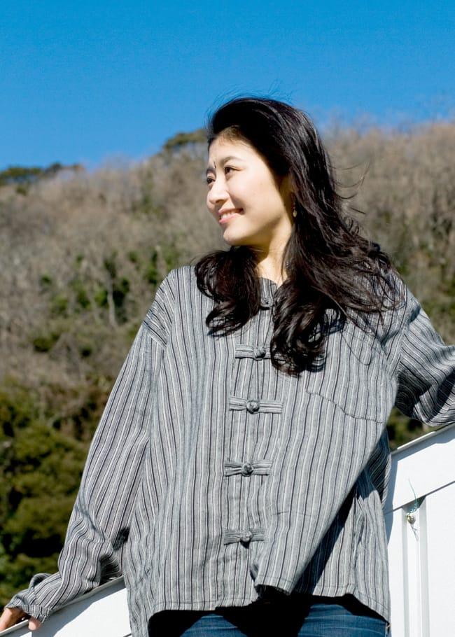 長袖ボタンクルタ 【灰色】 3 - デニムに合わせてカジュアルに着こなして下さい!