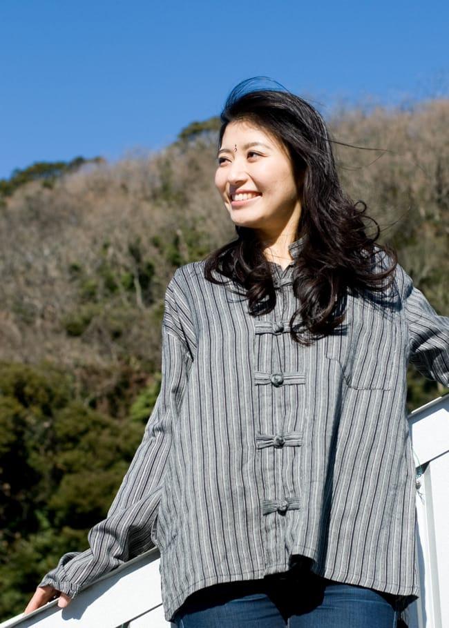 長袖ボタンクルタ 【灰色】の写真