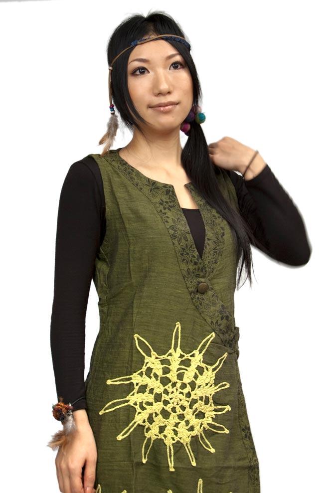 袖なし紐刺繍ジャケット【緑】の写真