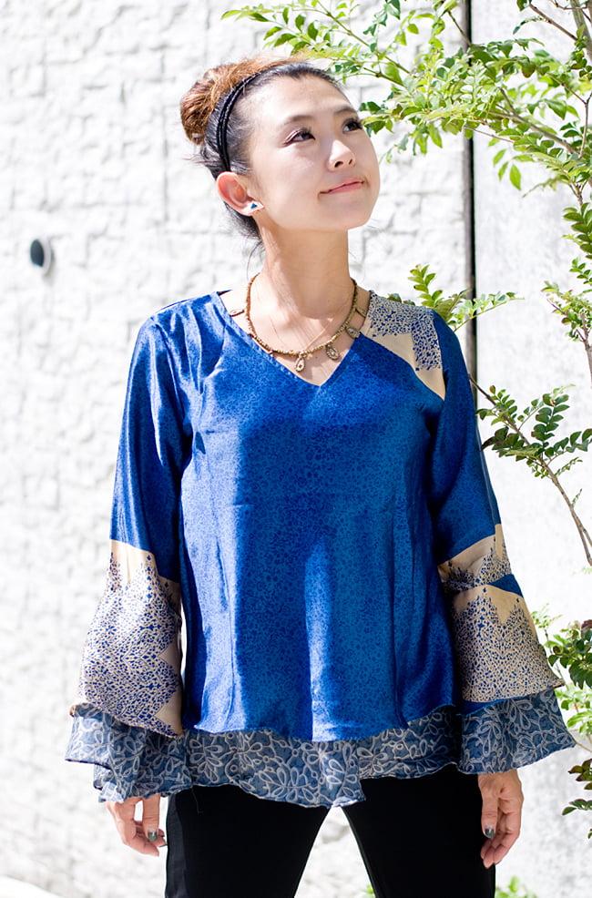 オールドサリー・ベルスリーブシャツ 5 - 正面のデザインです。袖口が広がったデザインです。
