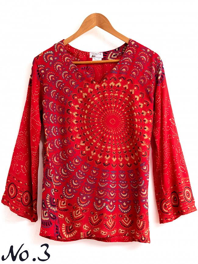 長袖ウッドブロックプリントシャツ - 赤 8 - 細かな色合いやデザインパターンはアソートとなります。