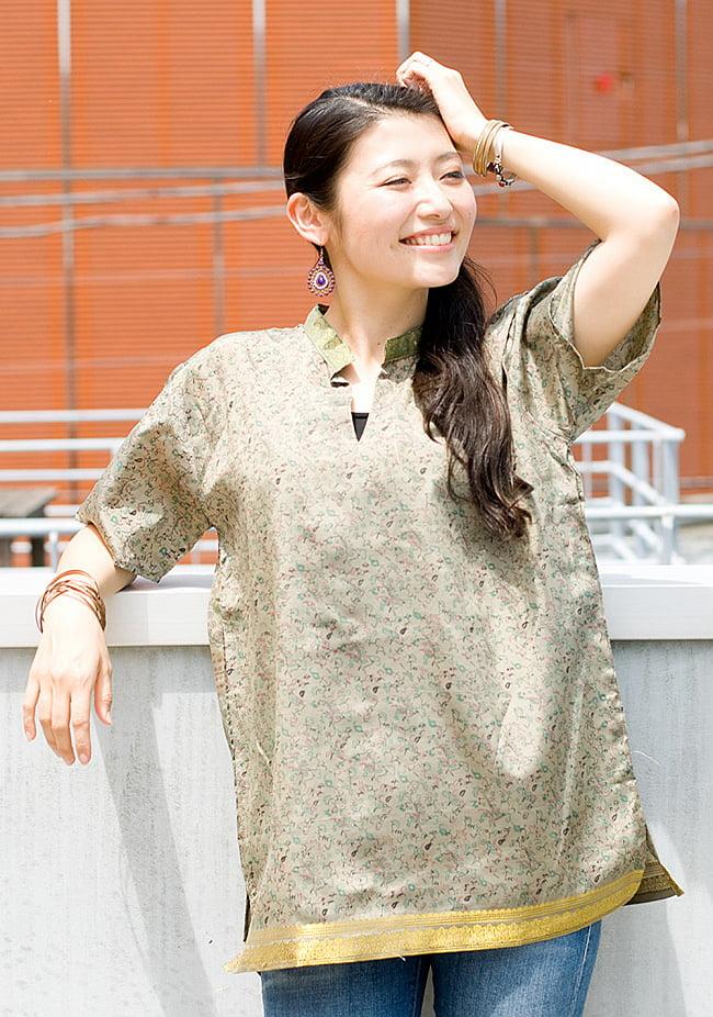 ユニセックスデザインが嬉しい!オールドサリーの半袖プルオーバーシャツ 3 -  身長165cmのモデル着用例です。