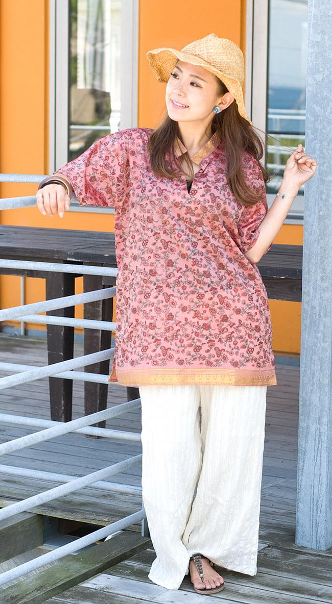 ユニセックスデザインが嬉しい!オールドサリーの半袖プルオーバーシャツ 4 - 身長152cmのモデル着用例です。