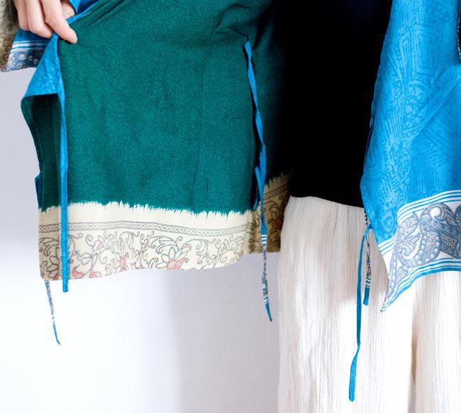 長袖リバーシブル・オールドサリー・カシュクール - 緑系 10 - 紐を結んだり、外したりするだけで印象が変わりますよ!