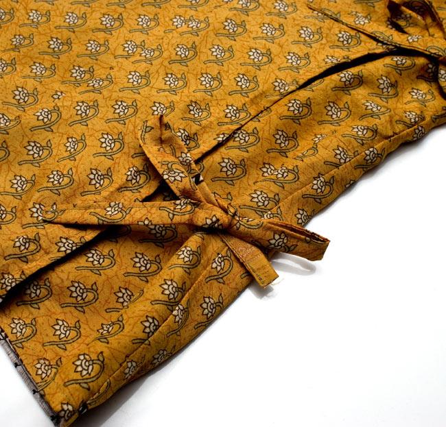 長袖リバーシブル・オールドサリー・カシュクール - 緑系 12 - サイドできゅっと結んでもスッキリ着こなせます。