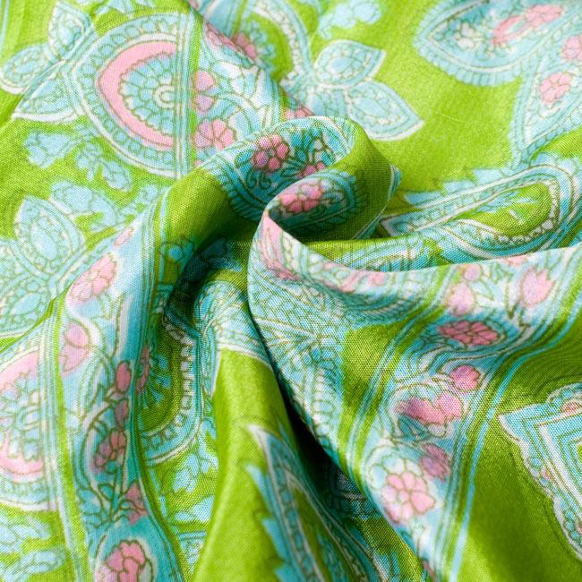 長袖リバーシブル・オールドサリー・カシュクール - 緑系 15 - ツルツルした素材はとても美しいです。