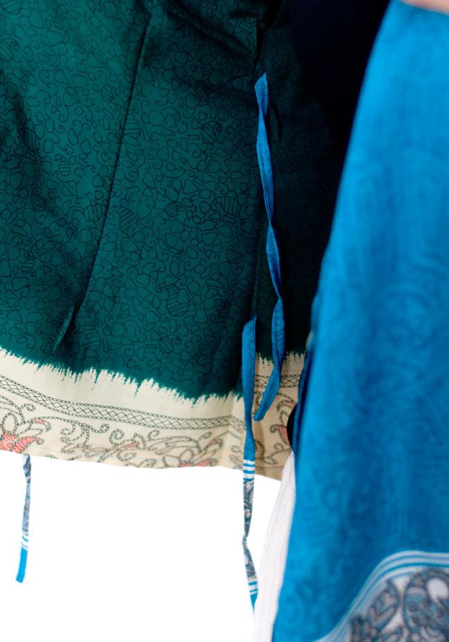 長袖リバーシブル・オールドサリー・カシュクール - 緑系 9 - このように紐が付いているので、結んで着ても外して着てもOKです。