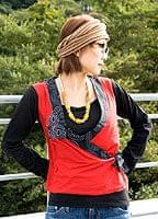 カシュクール風アジアン長袖Tシャツ 赤×黒