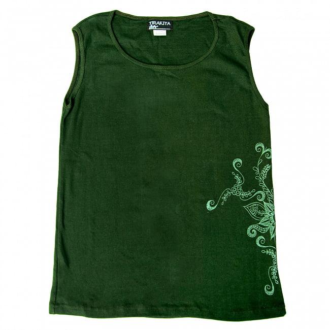 メヘンディアートプリント タンクトップ 6 - 選択2:グリーン