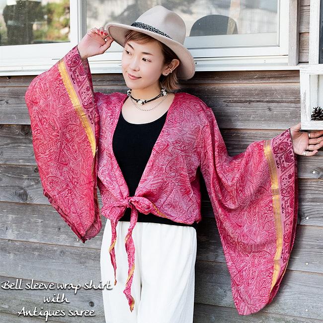 アンティークシルクサリー 長袖前結びベルスリーブシャツ - 黄・オレンジ系の写真