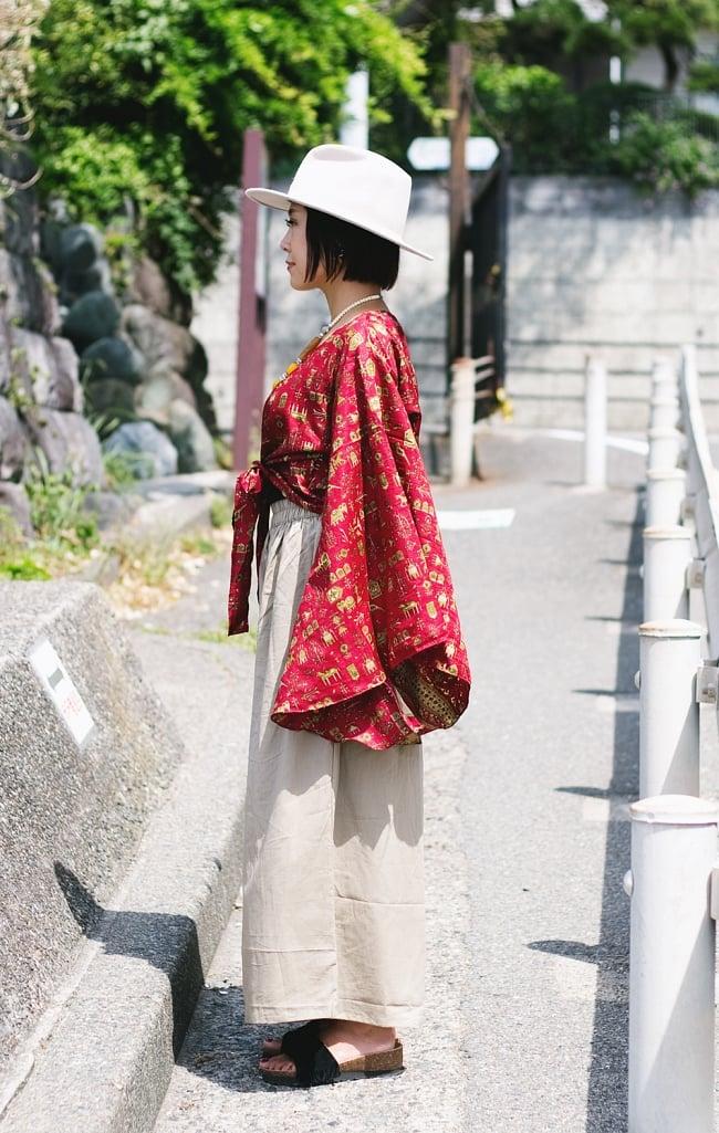 オールドサリー 長袖前結びベルスリーブシャツ 赤・ピンク系の写真4 - アソートの内容はこんな感じです。