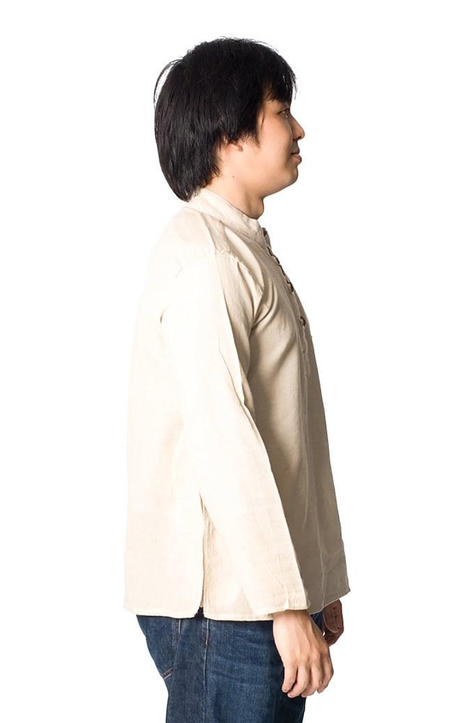 長袖シンプルコットンボタンクルタ 【きなり】 4 - 横から見るとこんな感じです。