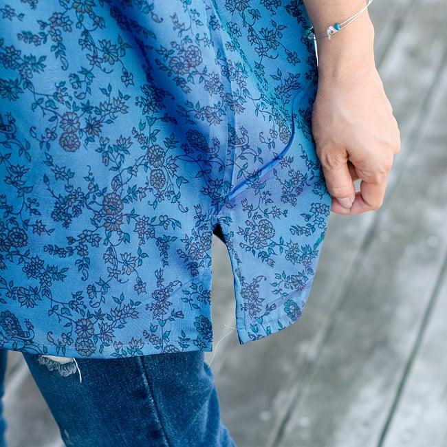 オールドサリーの半袖プルオーバーシャツ ブルー系の写真6 - サイドにはスリットもあります。