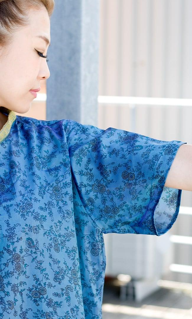 オールドサリーの半袖プルオーバーシャツ ブルー系の写真8 - 調度良い長さの半袖です。