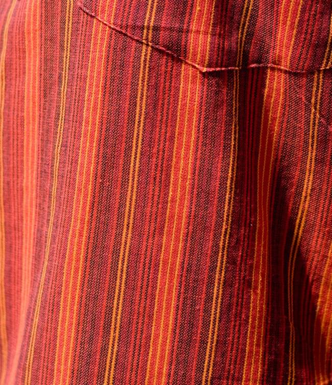 長袖ボタンクルタ 【オレンジ赤系】の写真5 - 生地をアップにしてみました。
