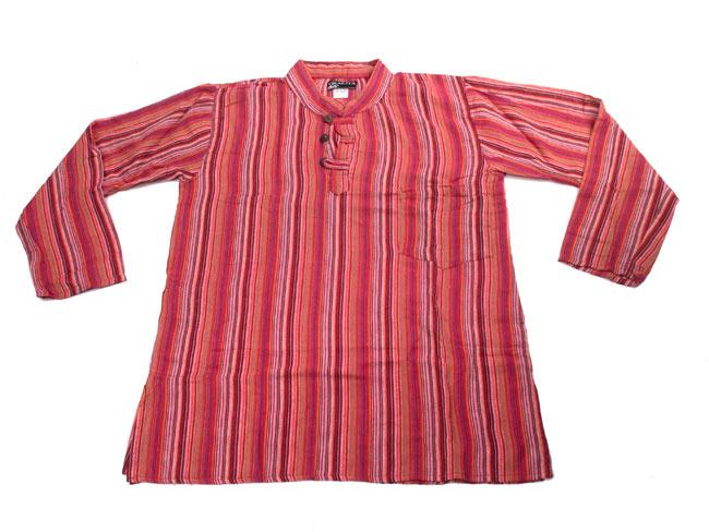 長袖ボタンクルタ 【オレンジ赤系】の写真7 - 広げてみました。とてもシンプルなので着やすいです。
