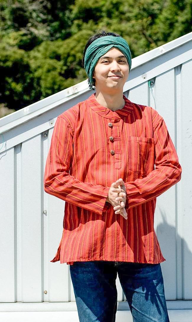 長袖ストライプクルタ 7 - 一年を通して楽しめるエスニックで爽やかなシャツです
