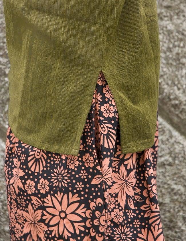 半袖シンプルコットンシャツ - カーキ 6 - 裾はスリットが入っているので、スッキリ!動きやすいですね。