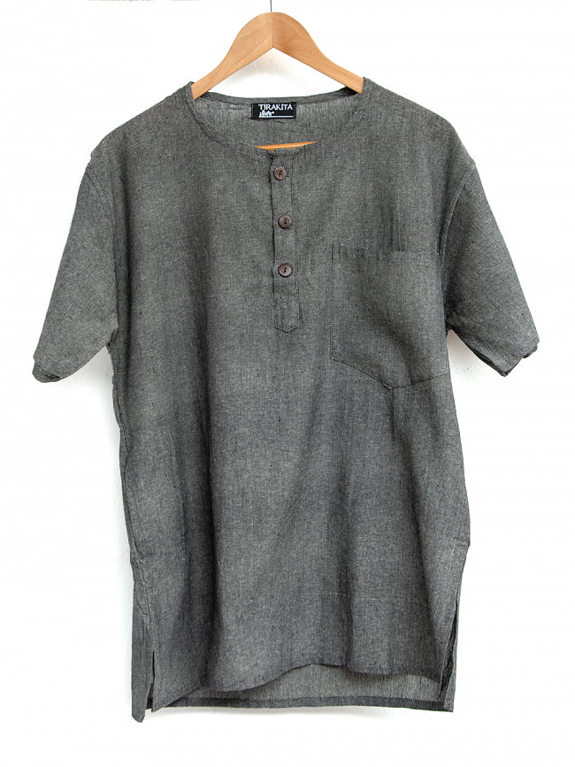 半袖シンプルコットンシャツ 10 - 5:グレー