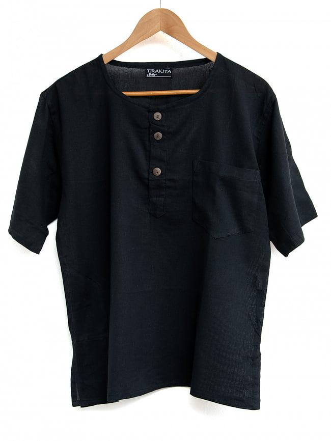 半袖シンプルコットンシャツ 11 - 6:ブラック