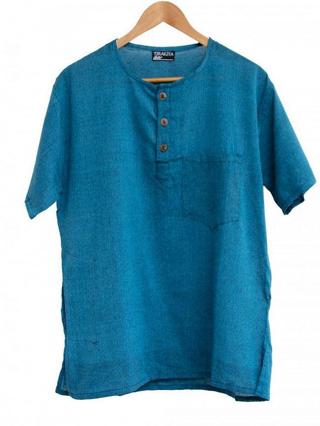 半袖シンプルコットンシャツ 12 - 7:ダークターコイズ