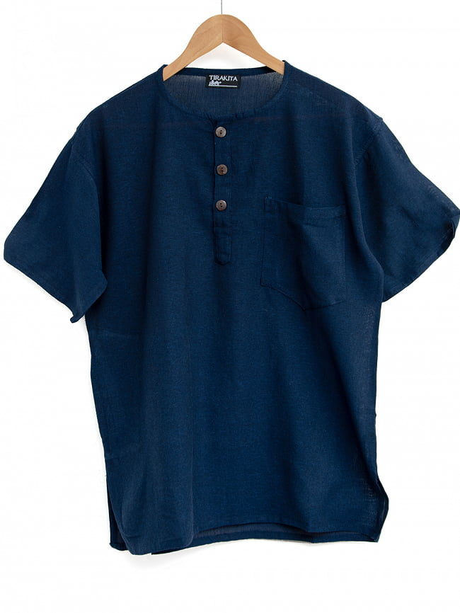 半袖シンプルコットンシャツ 6 - 1:ネイビー