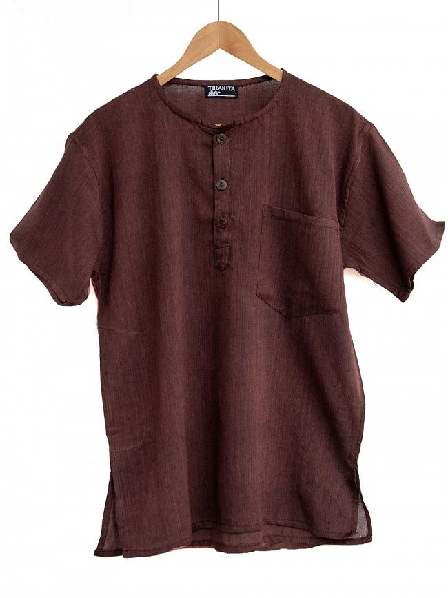半袖シンプルコットンシャツ 7 - 2:ブラウン