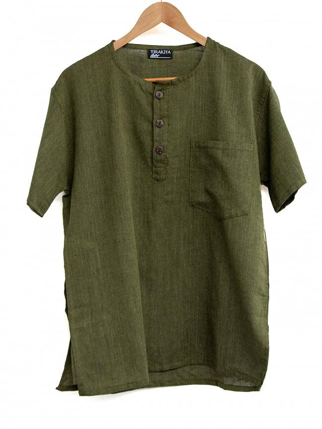 半袖シンプルコットンシャツ 8 - 3:カーキ