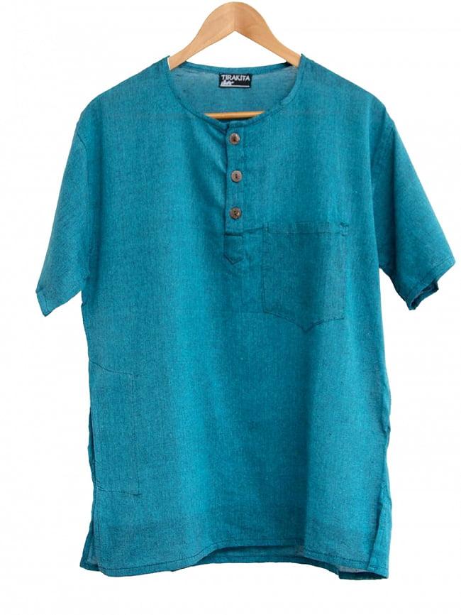 半袖シンプルコットンシャツ 9 - 4:ターコイズ