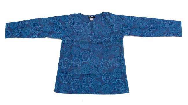 花火柄の長袖コットンシャツ 【緑】 8 - 広げるとこんな形をしています。