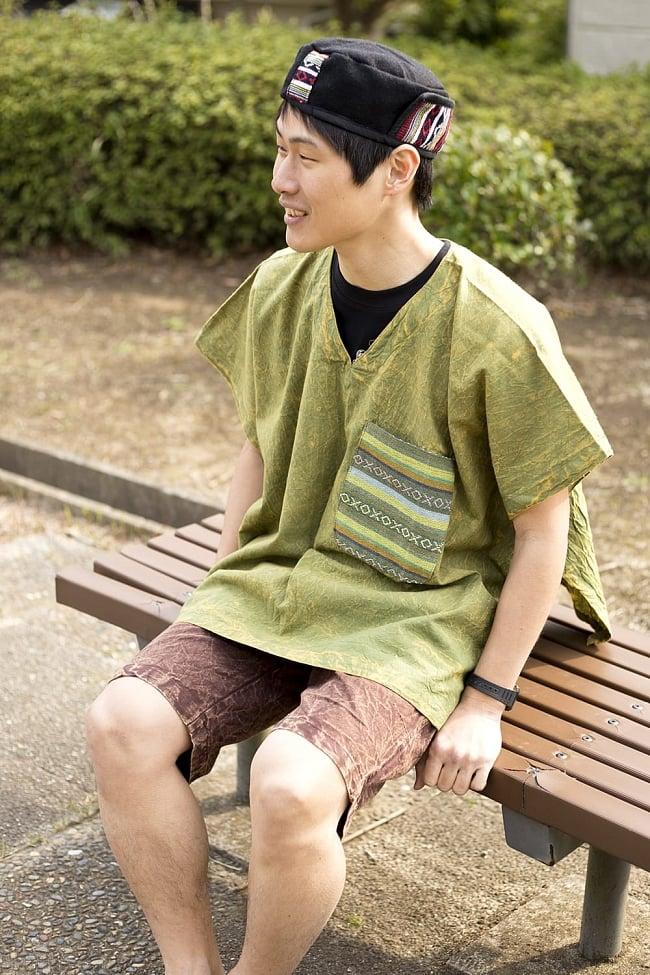 ストーンウォッシュの半袖プルオーバーシャツ 緑 5 - 男女兼用でお楽しみいただけます。