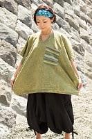ストーンウォッシュの半袖プルオーバーシャツ 緑