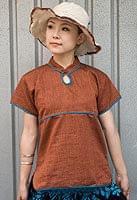 半袖コットンパイピングシャツ オレンジ×エメラルド