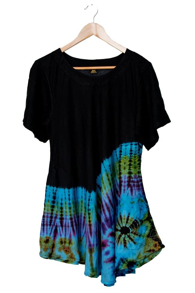 タイダイフレア半袖シャツ 12 - 選択3:ライトブルー系