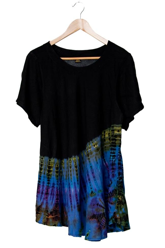 タイダイフレア半袖シャツ 14 - 選択5:ブラックブルー系