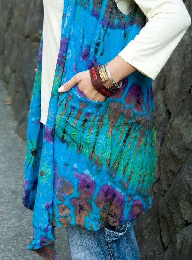 タイダイレーヨンサラサラベスト 【水色】の写真4 - ポケットもあるので便利!