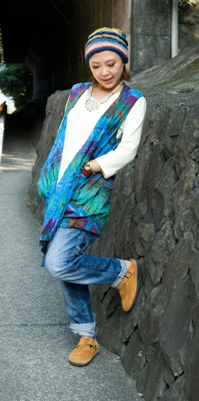 タイダイレーヨンサラサラベスト 【水色】の写真