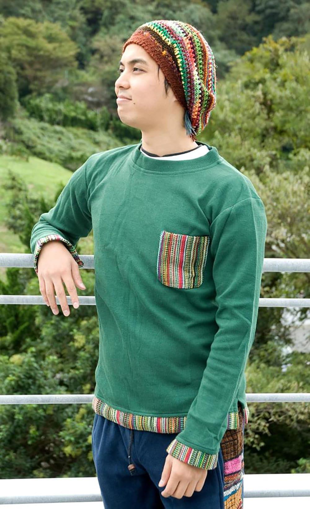 ゲリポケットの長袖コットンリブTシャツ 4 - 170cmのスタッフが着てみました。