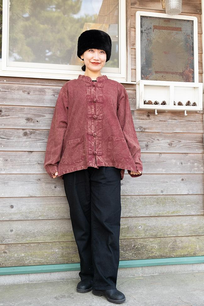 シンプル無地のストーンウォッシュクルタシャツ 2 - B:赤茶