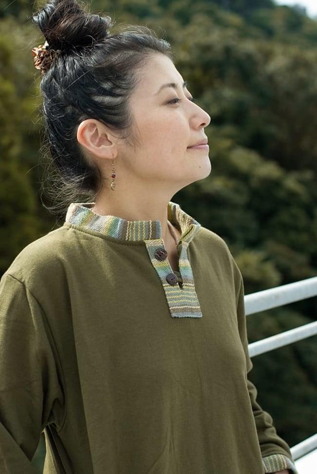 裏起毛が嬉しい!ゲリのクルタ風トレーナーの写真11 - 裏毛起毛がふわふわで暖かです。