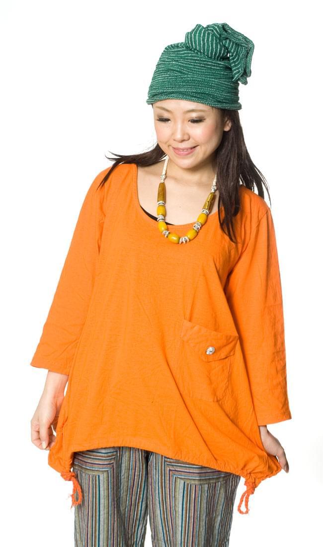 コットンのトライアングルゆったりTシャツ 4 - D:オレンジ