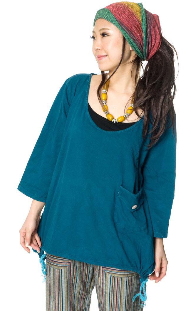 コットンのトライアングルゆったりTシャツの写真5 - E:ブルーグリーン