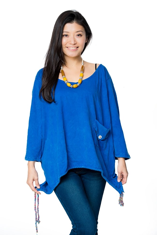 コットンのトライアングルゆったりTシャツ 7 - F:ブルー